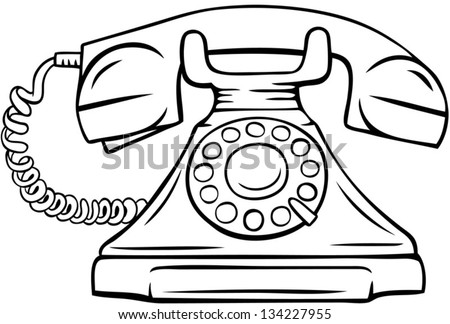 Line Drawing Of A Vintage Phone Vector Illustration Isolated Object