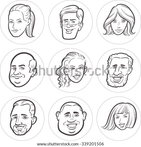 Line drawing of diverse people faces - stock vector
