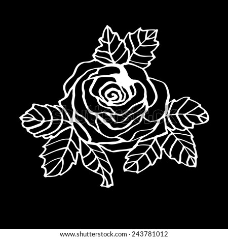 Line drawing rose on the black background. - stock vector