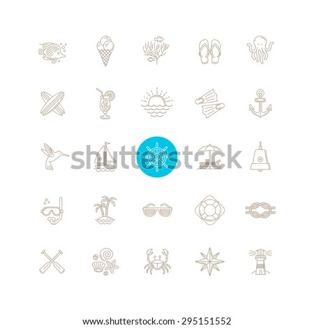Line drawing vector icon set - Summer vacation, holidays and travel emblems signs and symbols - stock vector