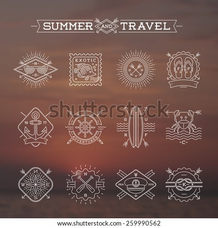 Line drawing vector illustration - Summer vacation, holidays and travel emblems signs and labels - stock vector