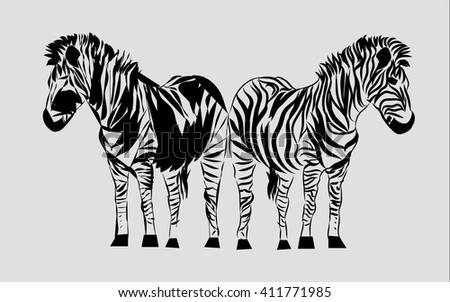 Line Drawing Vector Graphics : Line drawing zebra graphic design stock vector 2018 411771985
