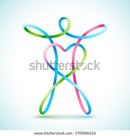 Line figure with a heart - stock vector