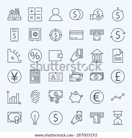 Line Finance Money and Banking Icons Set. Vector Set of 36 Line Art Modern Icons for Web and Mobile. Bank and Banking. Debit and Credit. Money and Finance. Business Investments and Earnings Objects. - stock vector