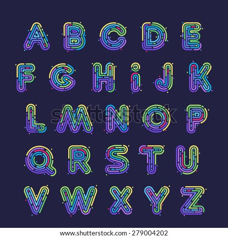 Line fingerprint english alphabet letters set. Font style, vector design template elements. - stock vector