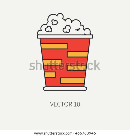 flat color vector icon elements of movie theater pop culture - popcorn ...
