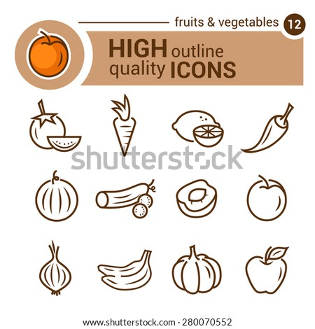 Line flat icons of food and kitchen, vector set. - stock vector