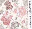 Line floral pattern against light  pink background - stock