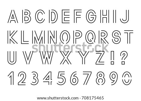 Line Font Latin Alphabet Letters Set Stock Vector 708175465 ...