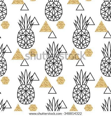 Line geometric pineapple and gold shimmer dot shapes seamless vector pattern. Low poly fruit abstract background for print, textile fabric, invitation card and wall decor.  - stock vector