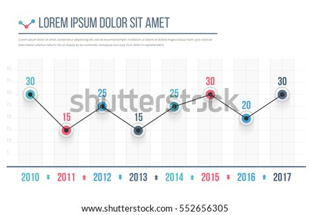 line graph template business infographics vector ベクター画像素材
