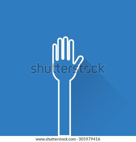 Line Hand Raised Icon - stock vector