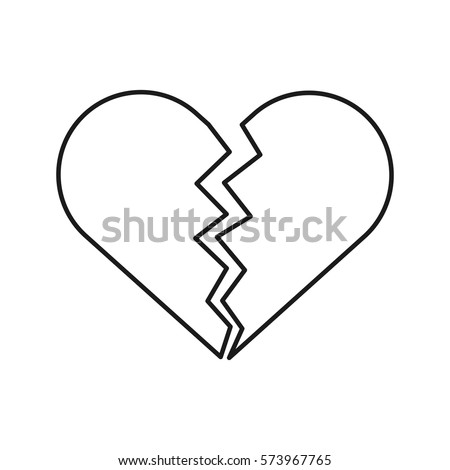 line icon broken heart vector illustration stock vector 573967765 rh shutterstock com broken heart icon vector broken heart vector download