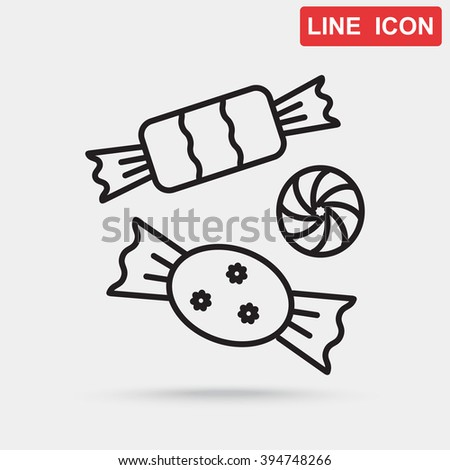 Line icon-   candy - stock vector