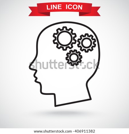 Line icon-   gear in head