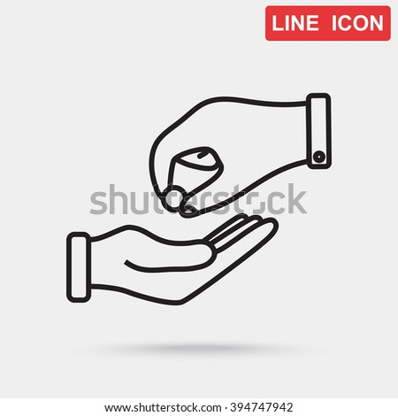Line icon- give alms - stock vector