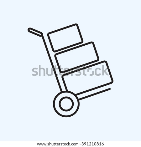 Line icon- Hand truck - stock vector