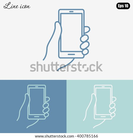 Line icon- Mobile phone in hand - stock vector