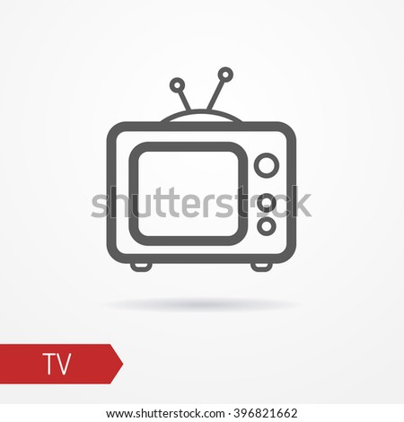 Line icon of a tv. Isolated tv line icon with shadow. Typical tv in thin line style. Line tv stock vector illustration. - stock vector