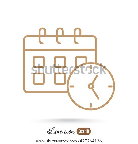Line icon-office clock with calendar - stock vector
