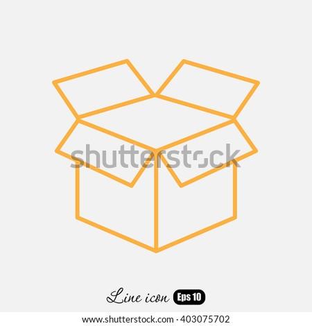 Line icon- open box - stock vector