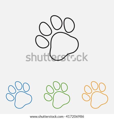 Line icon- paw - stock vector