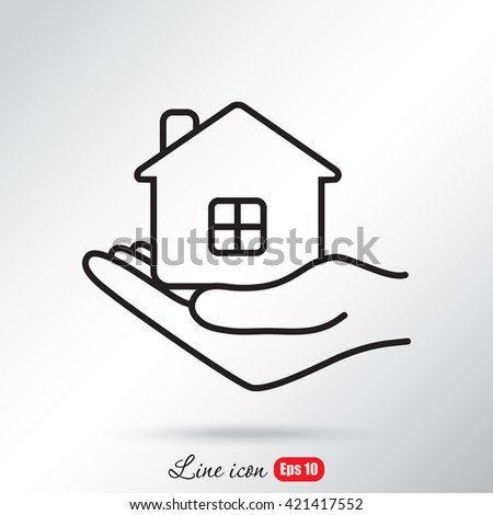Line icon- save house
