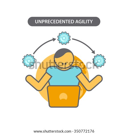 Line icon with flat design elements of business concept unprecedented agility. Modern vector pictogram - stock vector