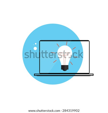 Line Icon with Flat Graphics Element of  Idea Bulb and Laptop Computer Vector Illustration - stock vector