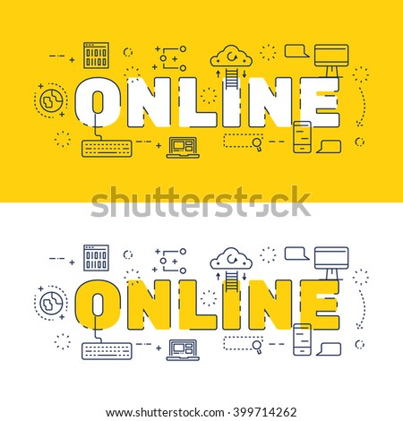 line icons design words online elements stock vector 399714262