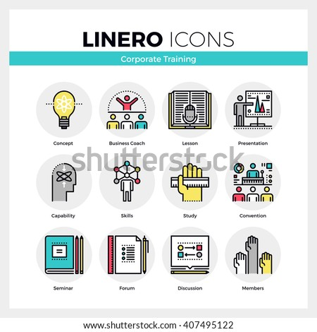 Line icons set of corporate seminar and business training. Modern color flat design linear pictogram collection. Outline vector concept of mono stroke symbol pack Premium quality web graphics material - stock vector