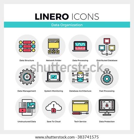 Line Icons Set Of Database Organization Data Management Modern Color Flat Design Linear Pictogram