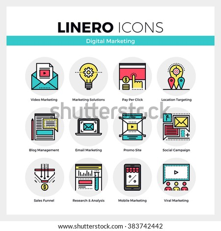 Line icons set of digital marketing and viral advertising. Modern color flat design linear pictogram collection. Outline vector concept of stroke symbol pack. Premium quality web graphics material. - stock vector