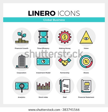 Line icons set of global business, partnership corporation. Modern color flat design linear pictogram collection. Outline vector concept of stroke symbol pack. Premium quality web graphics material. - stock vector