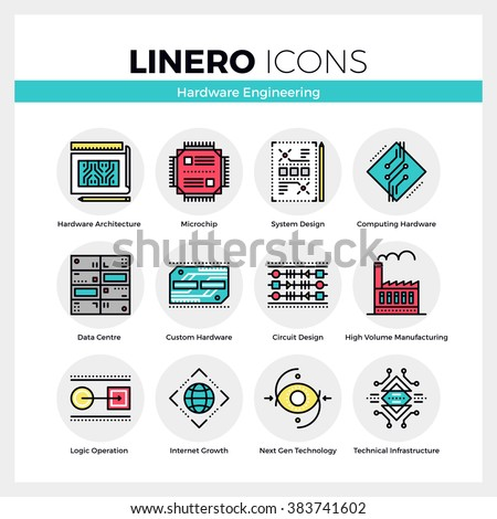 Line icons set of hardware engineering technology production. Modern color flat design linear pictogram collection. Outline vector concept of stroke symbol pack. Premium quality web graphics material. - stock vector