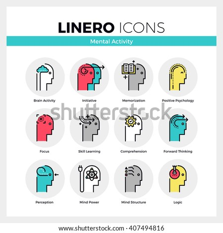 Line icons set of human mental activity and brain process. Modern color flat design linear pictogram collection. Outline vector concept of mono stroke symbol pack Premium quality web graphics material - stock vector