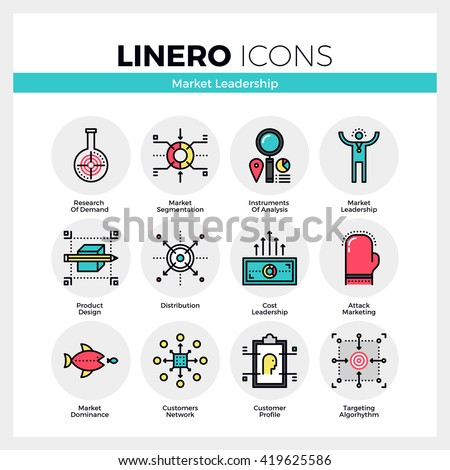 Line icons set of market leader instruments and key factors Modern color flat design linear pictogram collection Outline vector concept of mono stroke symbol pack Premium quality web graphics material - stock vector