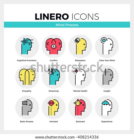 Line icons set of mental and mind processes of human brain. Modern color flat design linear pictogram collection Outline vector concept of mono stroke symbol pack Premium quality web graphics material - stock vector