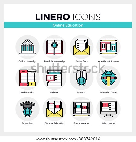 Line icons set of online education apps, e-learning webinar. Modern color flat design linear pictogram collection. Outline vector concept of stroke symbol pack. Premium quality web graphics material. - stock vector