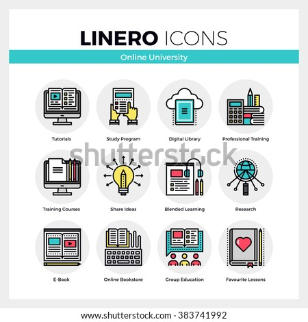Line icons set of online university learning, group study. Modern color flat design linear pictogram collection. Outline vector concept of stroke symbol pack. Premium quality web graphics material. - stock vector