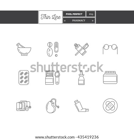 Line Icons Set of Pharmacy objects and products. Pharmacy pills, optics, herbal peels, dental care, hearing aid, inhaler, medicine, antibiotics. Logo icons vector illustration - stock vector