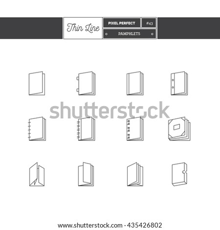 Line Icons Set of Printing icons set. Pamphlet and catalogs objects. Icons for web and mobile app. - stock vector