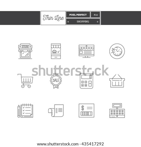 Line Icons Set of Shopping, Store objects and tools elements. Trading business, shopping, grocery store, fast purchase, online shop, app purchases, e-commerce. Logo icons vector illustration - stock vector