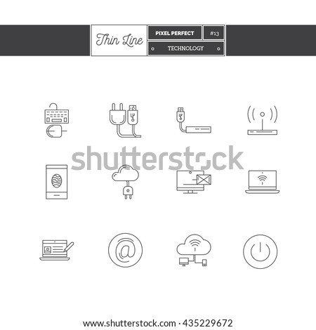Line Icons Set of Technology Equipment, process, objects and tools elements. Cloud technology services, global connection, network, internet data technology. Logo icons vector illustration - stock vector