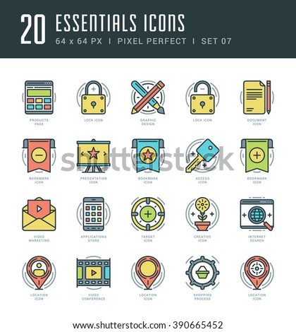 Line icons set. Trendy Modern Flat thin linear stroke vector Essentials Objects concept. For website graphics, Mobile Apps, Infographics design, Brochures. Outline pictogram pack. - stock vector