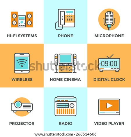 Line icons set with flat design elements of audio and video multimedia devices, electronics equipment, hi-fi music system, home cinema, digital clock. Modern vector logo pictogram collection concept. - stock vector