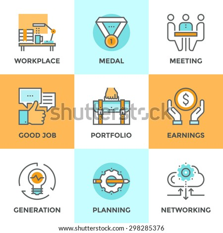 Line icons set with flat design elements of business people lifestyle routine, various office daily task, manager job planning and employee work activity. Modern vector pictogram collection concept. - stock vector