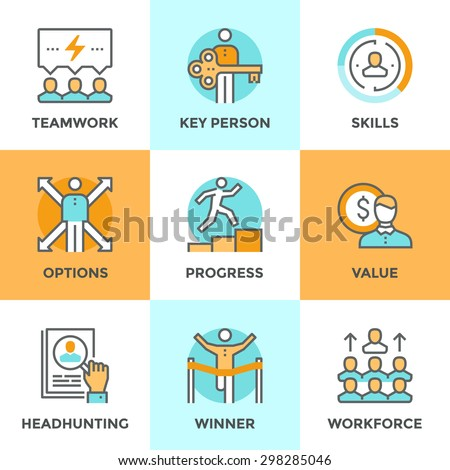 Line icons set with flat design elements of business people teamwork, personal development growth, key person value, headhunting process, team leader skills. Modern vector pictogram collection concept - stock vector