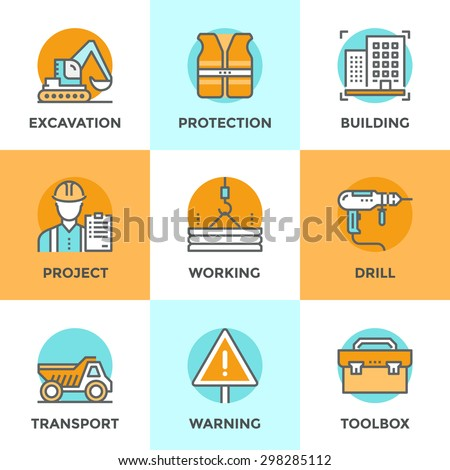 Line icons set with flat design elements of construction site, crane working, building home architecture, worker toolbox, builder with production plan. Modern vector pictogram collection concept. - stock vector