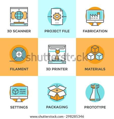 Line icons set with flat design elements of 3D printing technology, modeling and scanning objects for build new models, filament and materials for crafting. Modern vector pictogram collection concept. - stock vector
